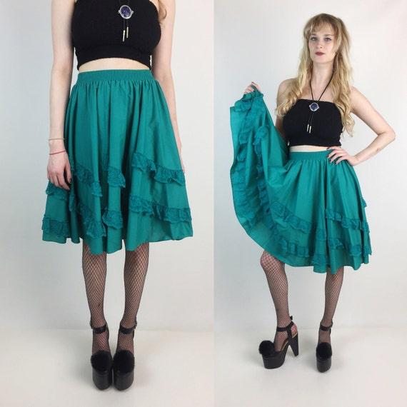 High Waist Circle Skirt With Ruffle Lace Trim Size 6/8 Elastic Waist  - Teal Green Tea Length Dancing Twirling Circle Skirt Vintage Midi