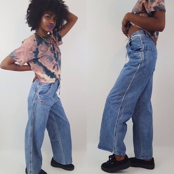 90's JNCO Ultra Wide Leg Denim Light Wash Size Small High Waist - Vintage 1990's Skater Pants Grunge Wide Leg Jeans - Women's Grunge Pants