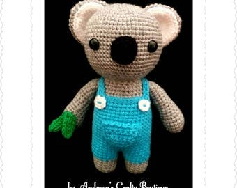 Crochet Koala Bear Soft Stuffed Amigurumi Toy approx 8in / 20cm tall