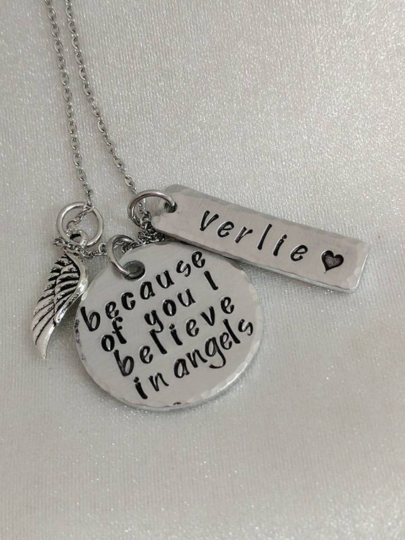 Because Of You I Believe In Angels - Loss Necklace - Loss of Grandma - Sympathy Gift - Memorial Keepsake - Remembrance Jewelry - Customized