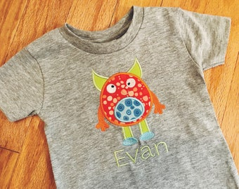 Children's Monster T-Shirt, Personalized Shirt, Toddler Monster Top, Kids' Monster Tee, Embroidered Name, Monster Birthday Party Outfit