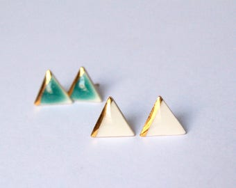 Gold Dipped Triangle Studs