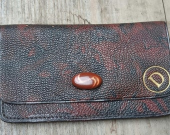 Vintage leather coin purse with initial D