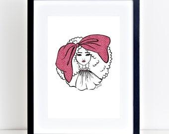 Fashion Illustration, Big Hair Bow Pink, A4, Printable, Atomik