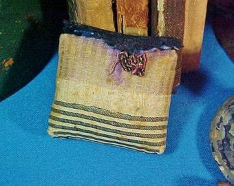 Antique Miniature Make Do Pincushion, Silk Fabrics, Primitive, Folk Art