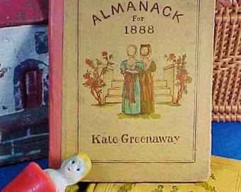 Antique Kate Greenaway's Almanack for 1888, Miniature Book,  London, George Routledge, Edmund Evans