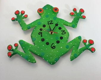 Clock, Frog Clock, Kids clock, Wall Clock,Nursery clock, Wall Clock, Hand painted clock