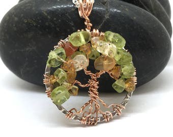 Colorful Foliage, Tree of Life, Citrine, Peridot, and Orange Carnelian, Gold Wire Wrapped Tree, Fall Tree of Life