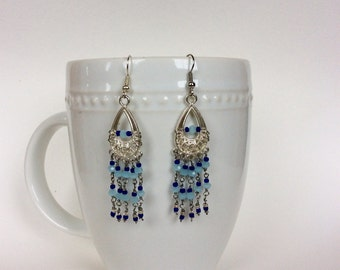 Blue and blue - chandelier earrings