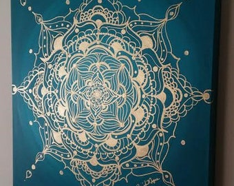Gold and Turquoise Mandala Acylic on Canvas 20inx20in