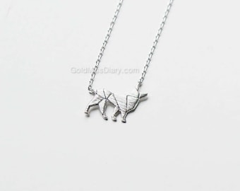 tiny silver origami dog necklace, dainty, everyday necklace, necklaces for women, gift ideas