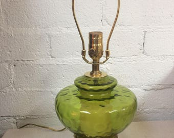 1970's Retro Vintage Green Glass and Brass Table Lamp