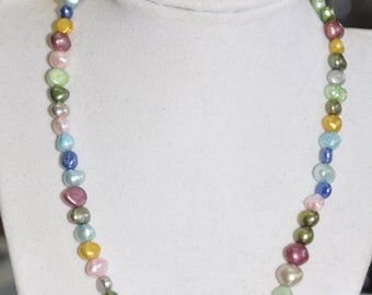 Genuine Pearl Necklace Bracelet Earring Set Rainbow Silver Cultivated Pearl #090117
