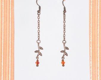 Earrings Copper Vine Leaf Orange Crystal Chain Nature Woodland #B09a