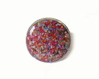RAINBOW GLITTER - glitter ring - colorful ring statement - cocktail ring - fashion glitter - glitter jewellery - colorful jewelry