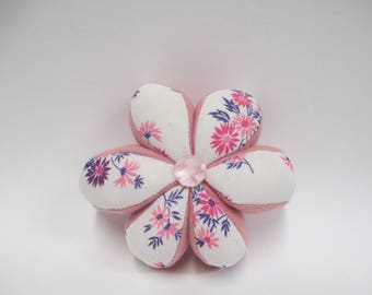Vintage Flower Pincushion, Pink and Purple Amish Puzzle Pin Cushion, Hard to Find Sewing Collectible