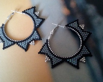 Contemporary Earrings -Beaded Hoop Earrings - Dangle  Earrings- Gift for her