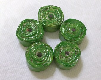 Green Coiled Paper Beads