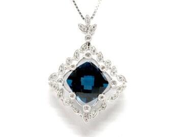 18k London Blue Topaz and Diamond Pendant Vintage Style checkerboard