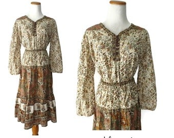 Indian Dress Cotton Gauze 70s Boho Bohemian Hippie 1970s Long Sleeves Brown Floral Gypsy Festival Fashion Size L Large