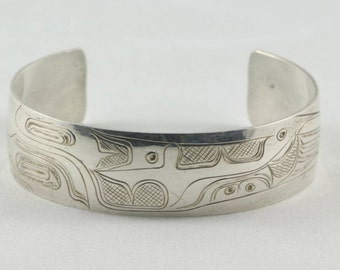 1990's Vintage First Nations Raven Sterling Silver Cuff Bracelet Signed Jewelry NorthWest Coast Fathers Day Gift For Him Gift For Her