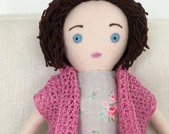 One-of-a-kind handmade cloth doll: Marietta