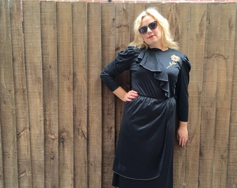 black mid length dress // LBD // 80s prom dress // quirky little black dress // 80s black gold boho dress // festival dress UK 10 - 12
