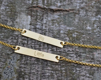Sister Necklace, Custom Bar Necklace, Set of 2, Gold Bar Necklace, Big Little Sorority, Sister Gift, Nameplate Necklace