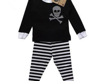 Black Skull Stripe Pyjamas