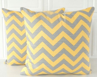 Yellow & Grey Pillow Covers SET OF TWO Gray and Yellow Chevron Stripe Pillow Covers Grey Throw Pillows Gray and Yellow Pillows 16x16 Pillows