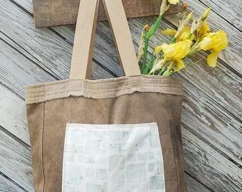 Indigo Block Print, Tote Bag, Hand Dyed Bag, Market Tote,Botanical Dye Tote Bag