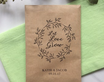 50 Let Love grow - Seeds Favor Bags - Wedding Favors
