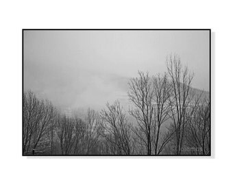 Wall art wall decor, Landscape print, mist photography, nature photography, trees in fog, winter landscape, Nature Art, Nature Print