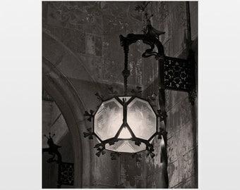 Fine art photography, Art Nouveau lamp, Lamp wall art, architectural print, Barcelona, Art Nouveau print