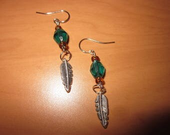 Green Feather Earrings with Gold Beads