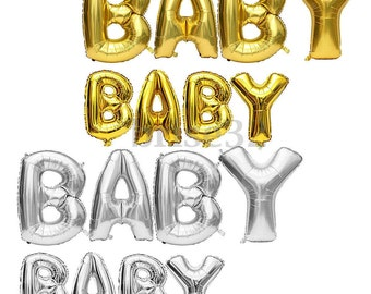 40 inch Gold/Silver Mylar BABY Balloons, Party Decor