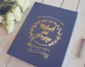 Navy Blue & Gold Foil Wedding Guestbook • Modern Wreath and Calligraphy Custom Guest Book • 8 x 10