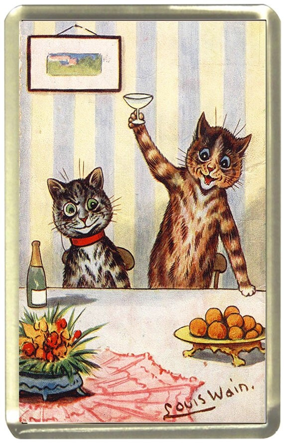 Louis Wain Toasting Cats Fridge Magnet 7cm by 4.5cm