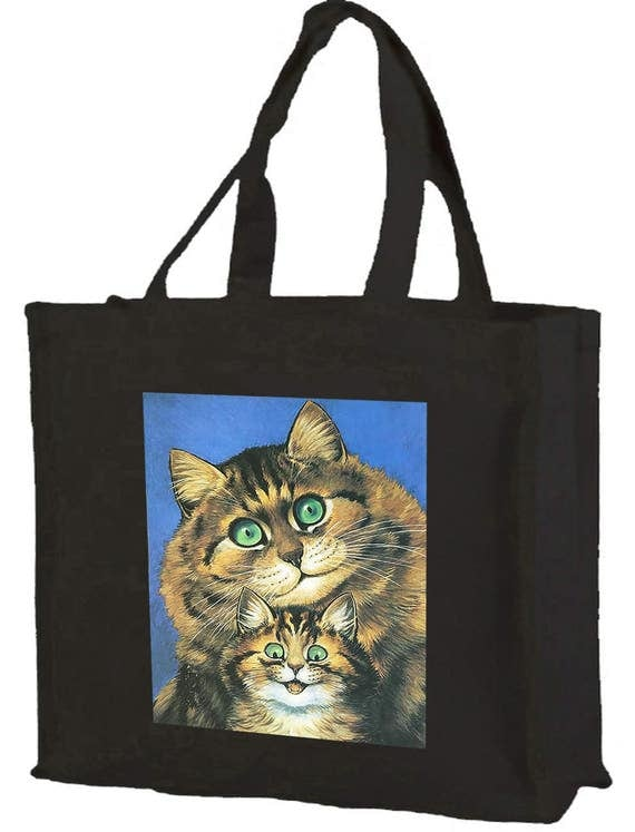 Louis Wain Smiling Cats Cotton Shopping Bag with gusset and long handles, 3 colour options