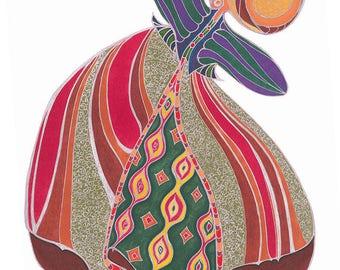 Red, green, orange and silver elvish dancer