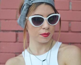 50s Head Scarf, Workout Head Scarf, Grey Headband, Plaid Headband, Woman Top Knot, Linen Head Wrap, Pin Up Headband, Bow Headband, Head Bow
