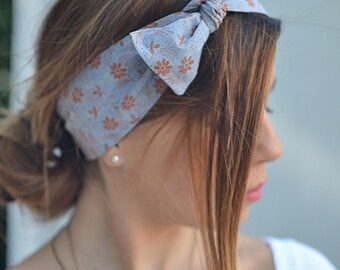 Blue Headband, Hair Accessories, Gifts For Her, Turbans, Workout Head Scarf, Rustic Head Scarf, Woman Head Scarf, Cotton Head Wrap, Pin Up