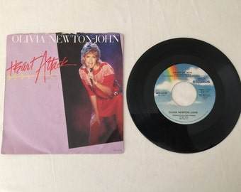 Olivia Newton John Heart Attack & Strangers Touch Vintage Vinyl 45 rpm Record with Picture Sleeve 1982 MCA Records MCA 52100