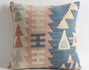 16x16 turkish kilim pillow, kilim pillow, turkish pillow, vintage pillow, decorative pillow, pillow, bohemian pillow, kilim cushion cover