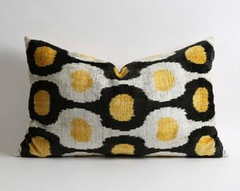 Black yellow white silk velvet ikat pillow cover // 16x24 handwoven bohemian uzbek ethnic pillow // Decorative lumbar throw pillows