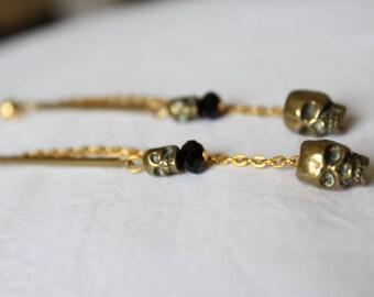 """Long dangling earrings. """"skull & beads"""""""