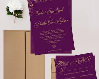 Plum Wedding Invitations, Romantic Calligraphy Wedding Invitation Set - DEPOSIT