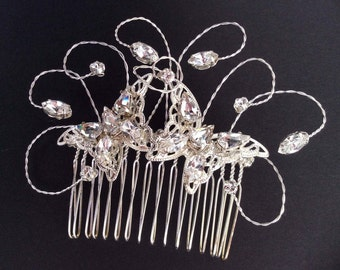 Swarovski Crystal and Filigree  Butterfly  Comb , Handmade in Clear Crystal and Silver.