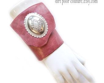Leather | Women's Wallet | Wrist | Cuff | Wallet | Wrist Wallet | Red