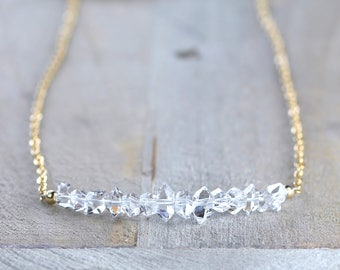 Herkimer Diamond Row Necklace in Sterling Silver or Rose Gold Filled, April Birthstone Gemstone Necklace, Natural Herkimer Crystal Jewelry